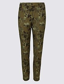 Cotton Blend Floral Ankle Grazer Trousers