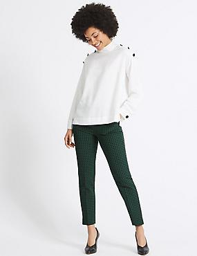 Jacquard Ankle Grazer Slim Leg Trousers, GREEN MIX, catlanding