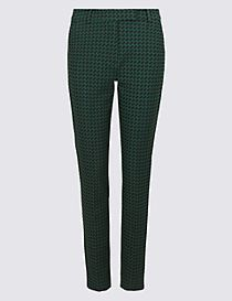 Jacquard Print Cropped Slim Leg Trousers