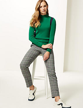 Molly Slim Checked Trousers, GREEN MIX, catlanding