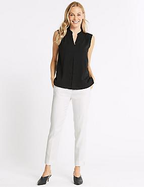 Jacquard Print Slim Leg Trousers, WINTER WHITE, catlanding