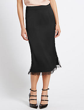 Tailored Fit Lace Trim Straight Midi Skirt