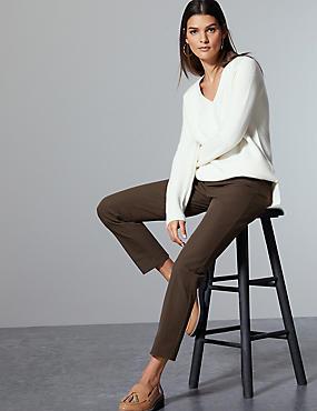 Cotton Rich Slim Leg Ankle Grazer Trousers, COCOA, catlanding