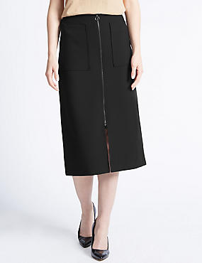Tailored Fit Front Zip Formal Midi