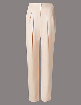 Pleat Front Tapered Leg Trousers with Linen