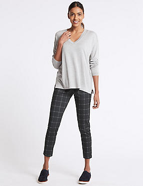 Ponte Checked Skinny Leg Trousers