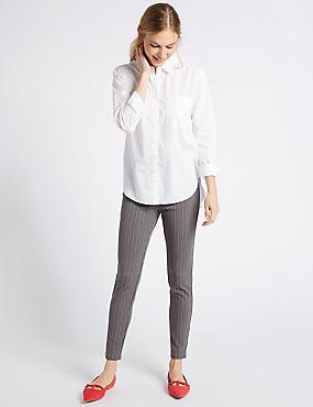 Pin Stripe Skinny Leg Trousers, GREY MIX, catlanding