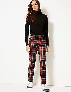 Checked Slim Leg Trousers, RED MIX, catlanding