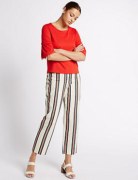 Cotton Rich Striped Straight Leg Trousers