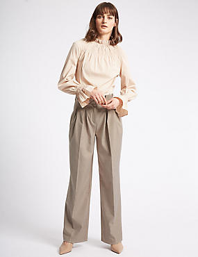 Textured Straight Leg Trousers , PUTTY, catlanding
