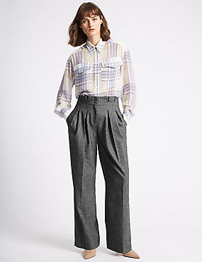Textured Straight Leg Trousers , CHARCOAL, catlanding