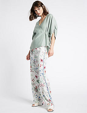 Floral Print Tapered Leg Trousers , IVORY MIX, catlanding