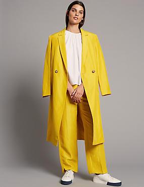 Linen Rich Ankle Grazer Straight Trousers, SUN GOLD, catlanding