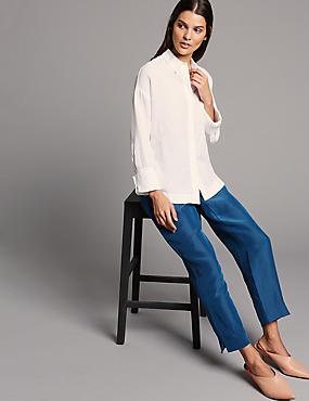 Linen Rich Ankle Grazer Straight Trousers, MARINE, catlanding