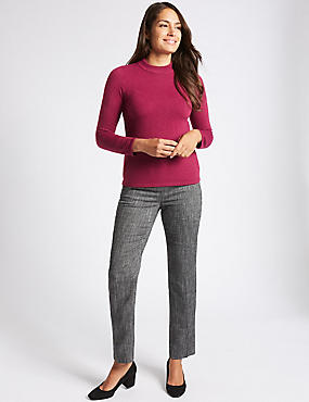 Tweed Textured Straight Leg Trousers