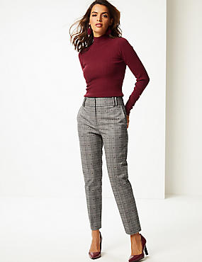 Cotton Blend Checked Trousers , BROWN MIX, catlanding