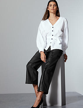 Leather Straight Leg Trousers , BLACK, catlanding