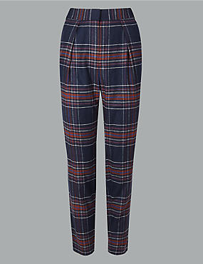 Wool Blend Checked Tapered Leg Trousers , NAVY MIX, catlanding