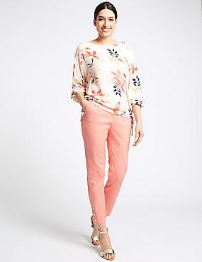 Cotton Blend Snap Hem Straight Leg Trousers , SUNSET, catlanding