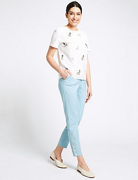 Cotton Blend Snap Hem Straight Leg Trousers