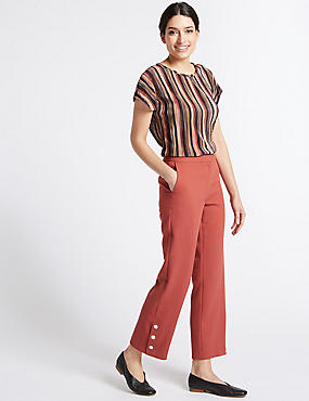 Button Detail Straight Leg Cropped Trousers