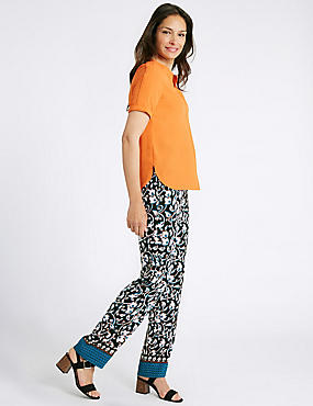 Floral Border Print Straight Leg Trousers