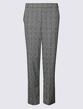 Checked Straight Leg Trousers, BLACK MIX, catlanding