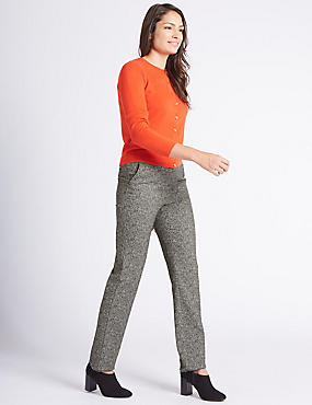 Broken Herringbone Straight Leg Trousers
