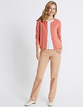 Cotton Rich Straight Leg Trousers, SAND, catlanding