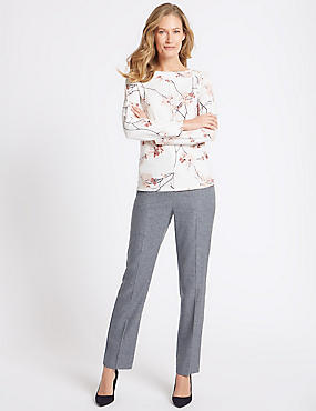 Textured Straight Leg Trousers, NAVY MIX, catlanding