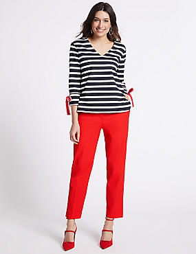 Cotton Blend Trousers, RED, catlanding