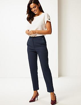 Cotton Blend Trousers, NAVY, catlanding
