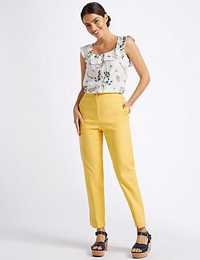 Cotton Blend Trousers, YELLOW, catlanding