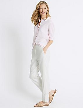 Linen Blend Straight Leg Trousers , WINTER WHITE, catlanding