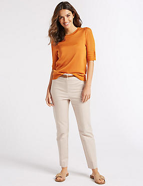 Belted Slim Fit Trousers , LIGHT PUTTY, catlanding