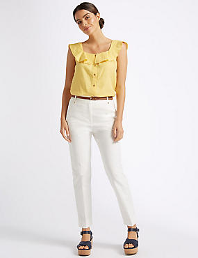 Belted Slim Fit Trousers , IVORY, catlanding