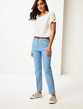 Belted Slim Fit Trousers , AZURE BLUE, catlanding