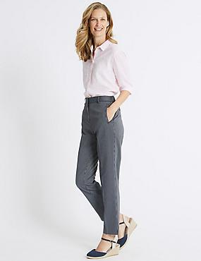 Cotton Blend Striped Straight Leg Trousers, NAVY MIX, catlanding