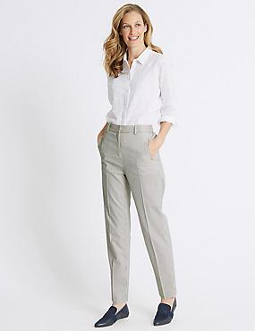 Cotton Blend Striped Straight Leg Trousers, WHITE MIX, catlanding