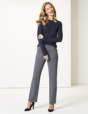 Textured Straight Leg Trousers , NAVY MIX, catlanding