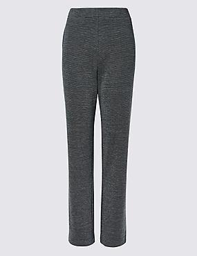 Textured Straight Leg Trousers , , catlanding