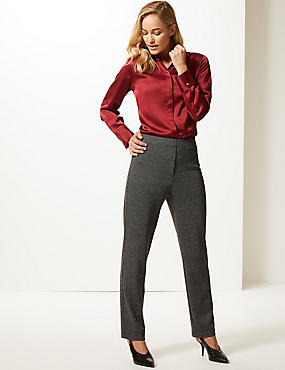 Textured Straight Leg Trousers , NEUTRAL BROWN, catlanding