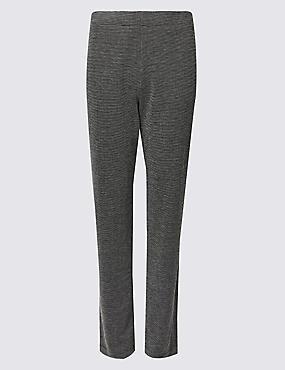 Textured Straight Leg Trousers , BLACK MIX, catlanding