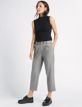 Checked Cropped Straight Leg Trousers