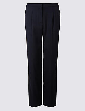 Pique Elastic Back Straight Leg Trousers