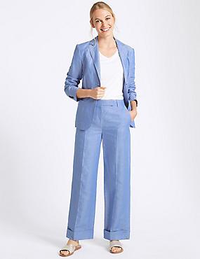 Linen Rich Ankle Grazer Trousers , CORNFLOWER, catlanding