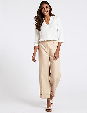 Linen Rich Ankle Grazer Trousers , NEUTRAL, catlanding
