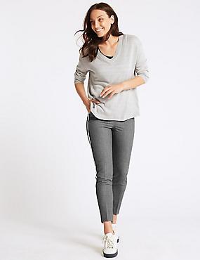 Textured Slim Leg Trousers , GREY, catlanding