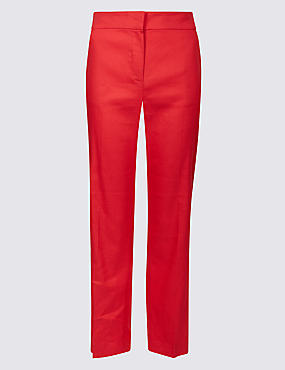 Linen Blend Ankle Grazer Straight Trousers, CHERRY RED, catlanding