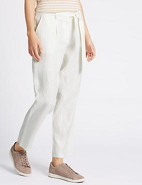 Pure Linen Tie Waist Tapered Leg Trousers